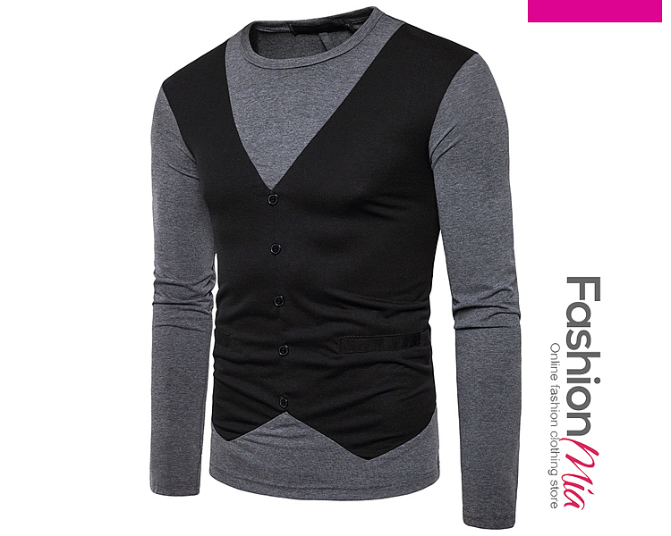 Round Neck  Color Block  Long Sleeve Long Sleeves T-Shirts B1A48A2B8F38