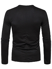 Round Neck  Color Block  Long Sleeve Long Sleeves T-Shirts