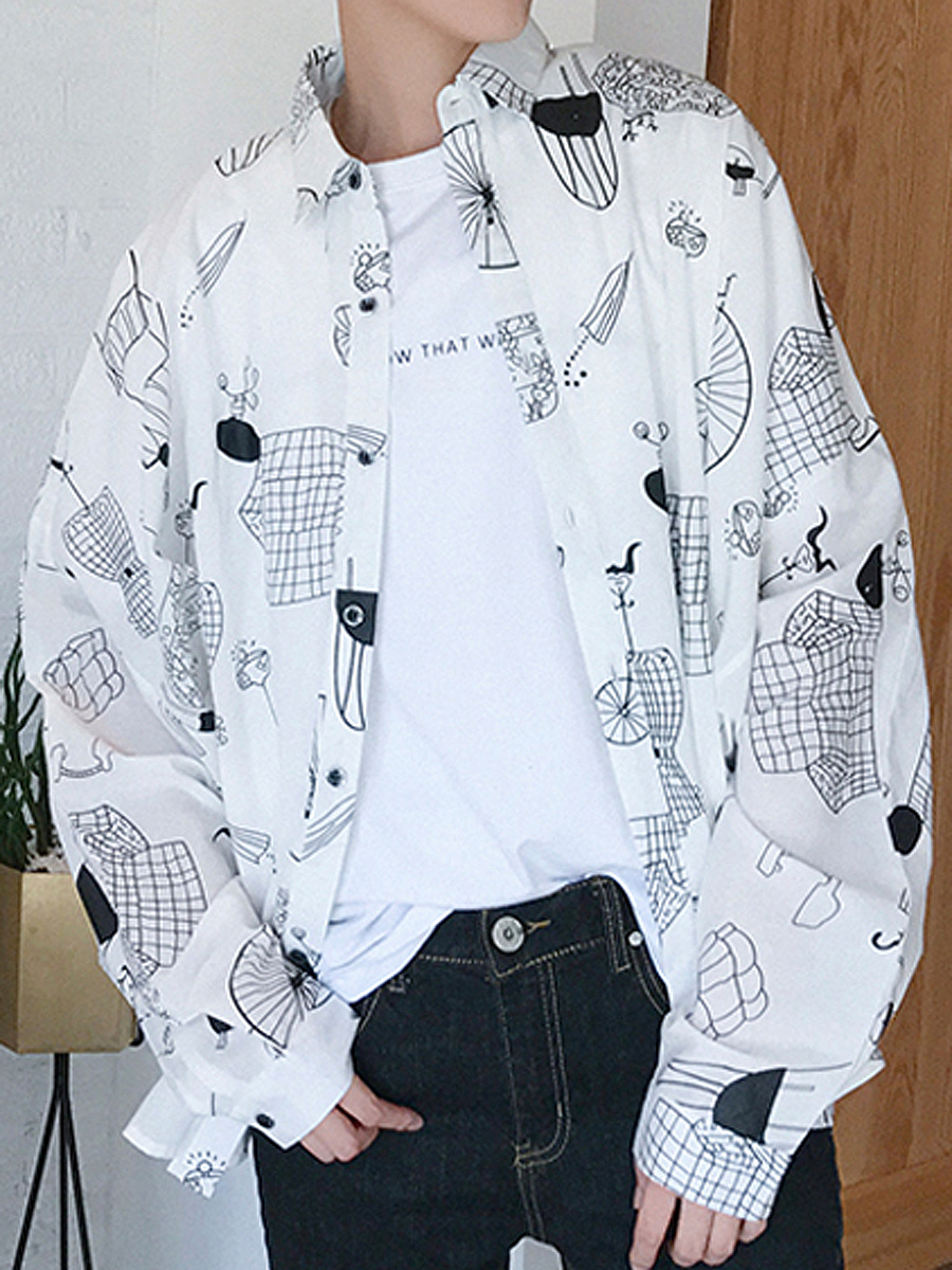 Oversized Cartoon Printed Men Shirts