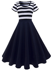 Round Neck Striped Midi Skater Dress