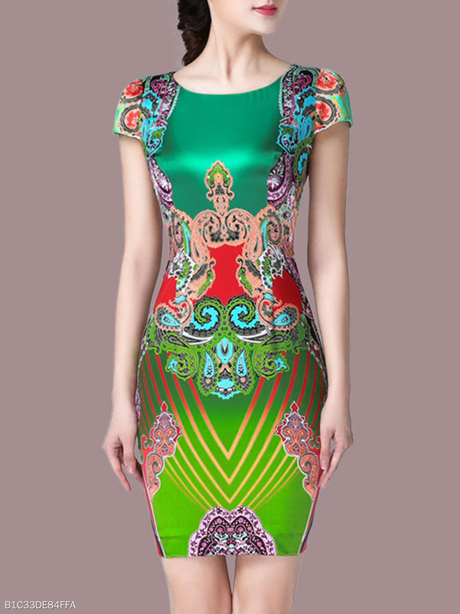 Special Round Neck Printed Bodycon Dress