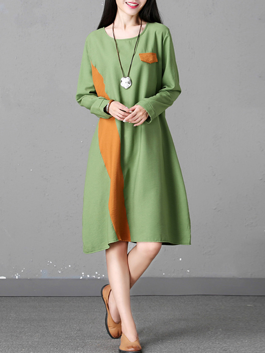 Color Block Pocket Round Neck Maxi Dress