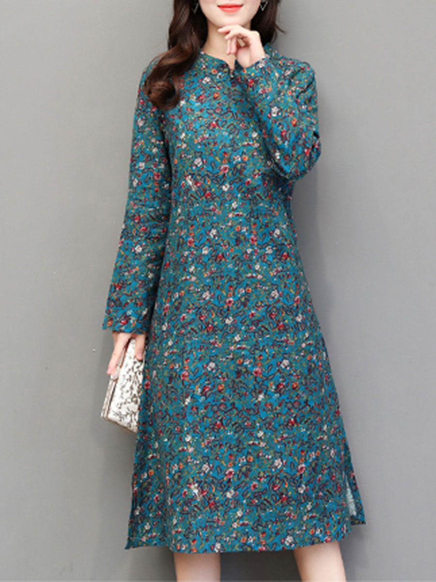 Band Collar Tiny Flower Printed Maxi Dress