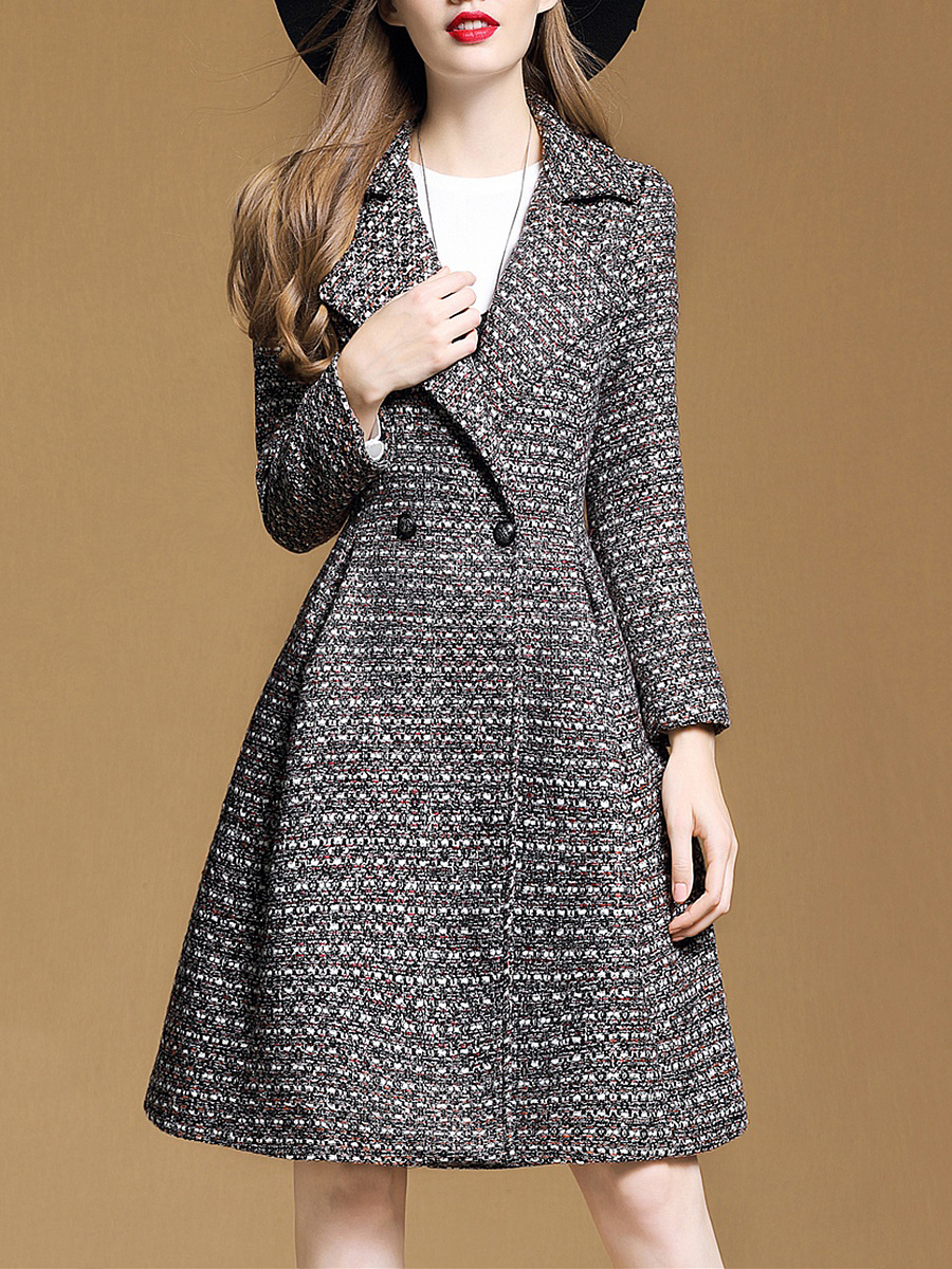 Attractive Longline Lapel Woolen Coat
