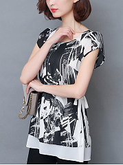 Spring Summer  Chiffon  Women  Round Neck  Patchwork  Abstract Print  Extra Short Sleeve Blouses