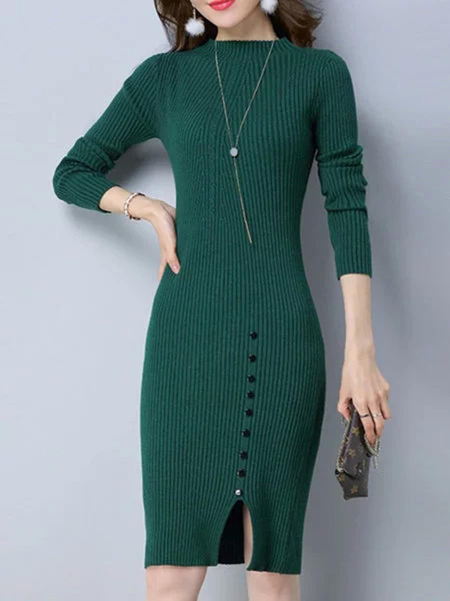 Band Collar Plain Slit Decorative Button Knit Bodycon Dress