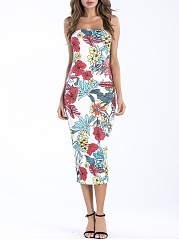 Off Shoulder  Floral Bodycon Dress