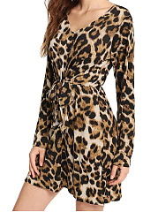V-Neck  Lace-Up  Leopard Shift Dress