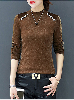 High Neck  Decorative Button  Plain Long Sleeve T-Shirt