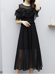 Round Neck  Elastic Waist Flounce  Plain Maxi Dress