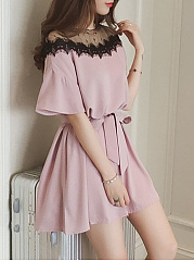Sailor Collar  Patchwork  Lace  Bell Sleeve Shift Dress