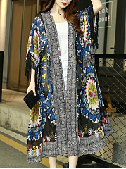 Fringe-Hollow-Out-Printed-Longline-Kimono