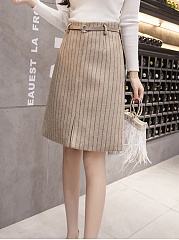 Casual Style Belt  Striped  A-Line Above Knee Skirts