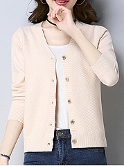 Single Breasted  Plain  Long Sleeve Cardigans