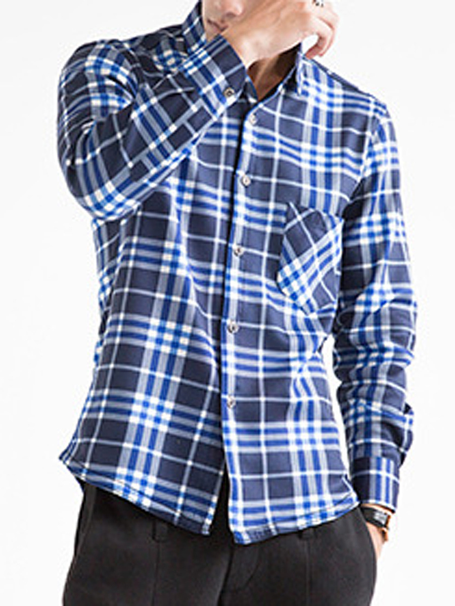 Plaid Patch Pocket Fleece Lined Men Shirts