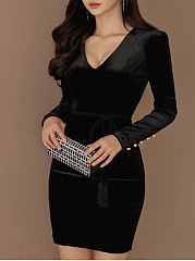... Deep V-Neck Decorative Button Plain Corduroy Bodycon Dresses ...