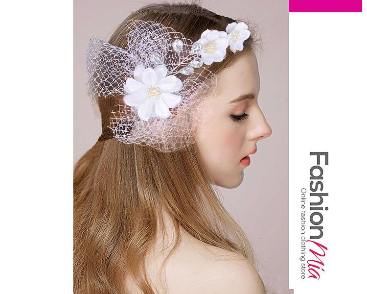 White Mesh Wedding Hair Accessories