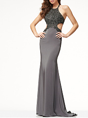 Halter Cutout Decorative Lace Plain Evening Dress