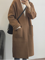 Slit Pocket  Plain  Long Sleeve Coats