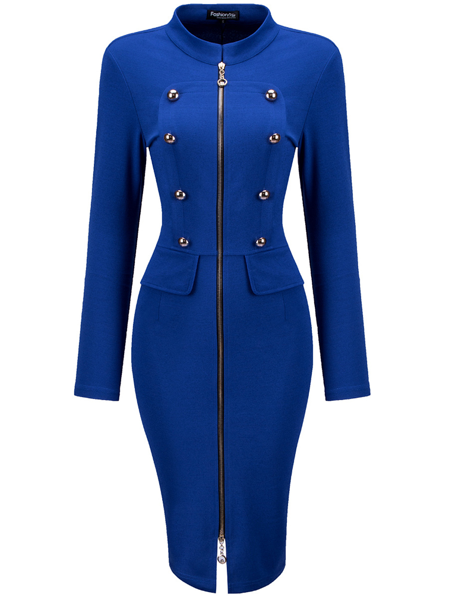 Band Collar Office Double Breasted Zips Solid Bodycon Dress