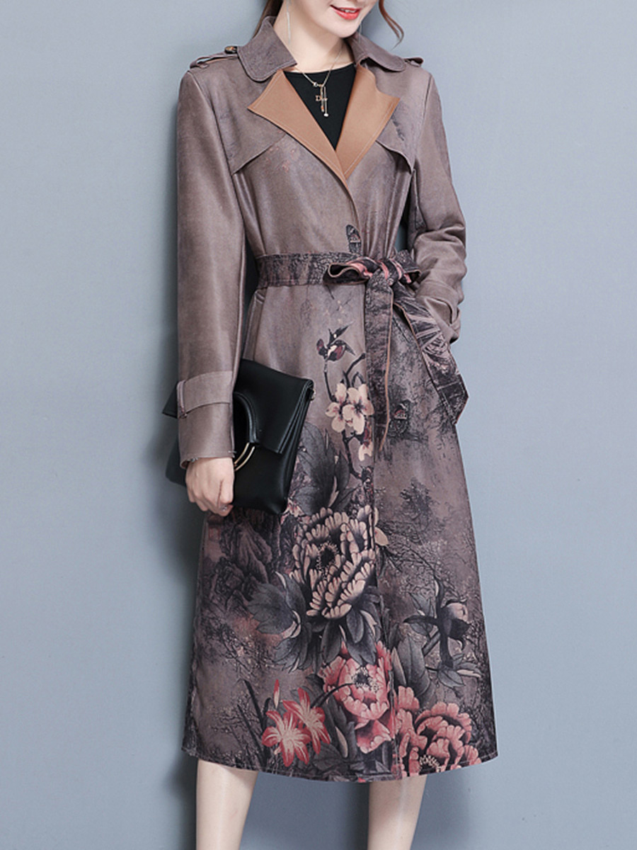 Lapel Belt Printed Pocket Longline Wrap Trench Coat