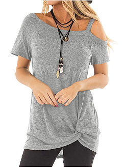 Polyester  Asymmetric Neck  Plain  Short Sleeve Short Sleeve T-Shirt