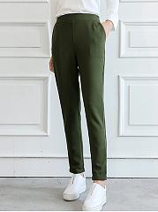 Plain-Elastic-Waist-Pocket-Slim-Leg-Pants