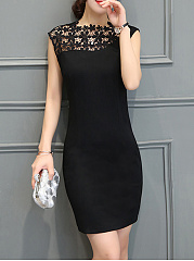 Neck  Plain Bodycon Dress  Asymmetric Sleeveless