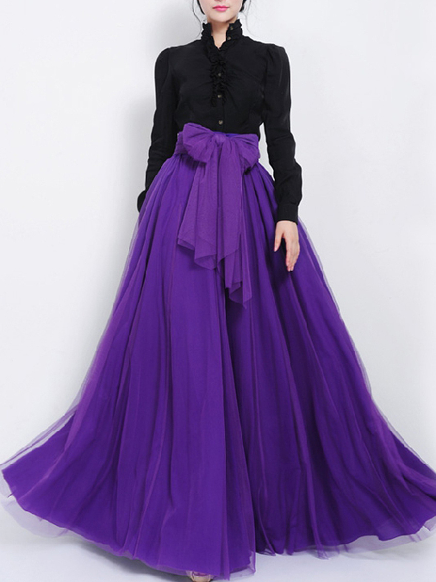 Bowknot Pocket Removable Tie Plain Flared Maxi Skirt