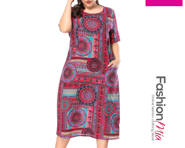Round Neck  Geometric Plus Size Midi  Maxi Dress