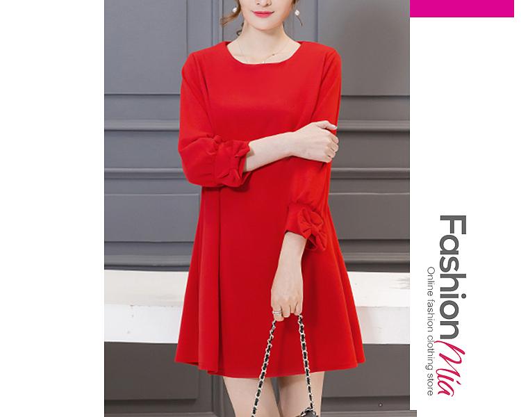 Round Neck  Bowknot  Plain Shift Dress B257CE346262