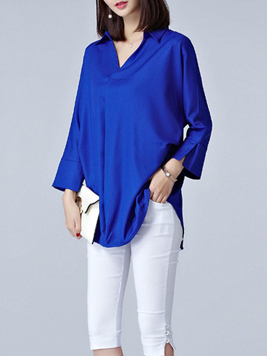 Autumn Spring  Polyester  Women  Turn Down Collar  Asymmetric Hem  Plain  Long Sleeve Blouses