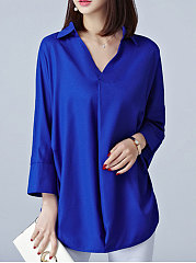 Autumn Spring  Polyester  Women  Turn Down Collar  Asymmetric Hem  Plain  Long Sleeve Blouses