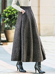 Plain-Pocket-Woolen-Swing-Maxi-Skirt