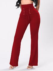 Plain-Lace-Up-High-Rise-Wide-Leg-Casual-Pants