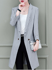 Fold-Over Collar  Striped Trench Coats