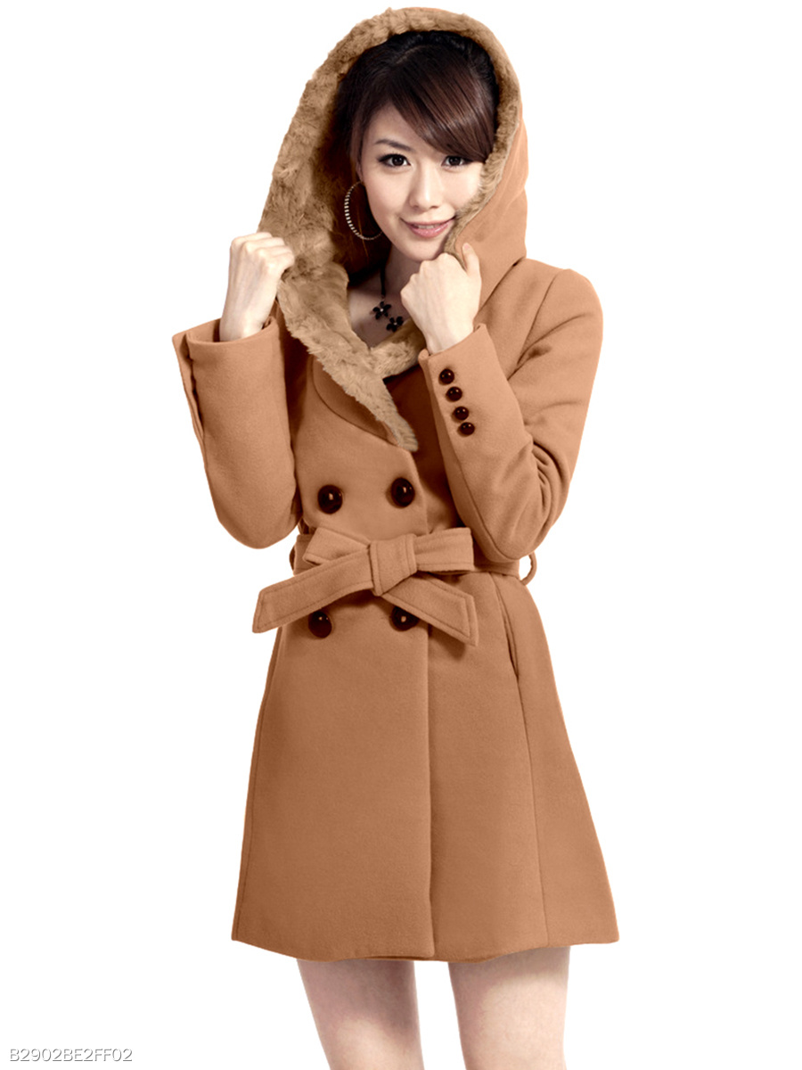 Hooded Plain Belt Double Breasted Pocket Woolen Coat