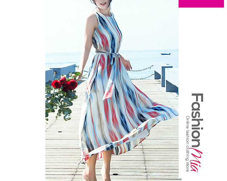 Round Neck  Belt  Printed Maxi Dress B2AA329817A8