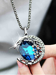 Blue Imitated Crystal Moon Pendant Long Necklace