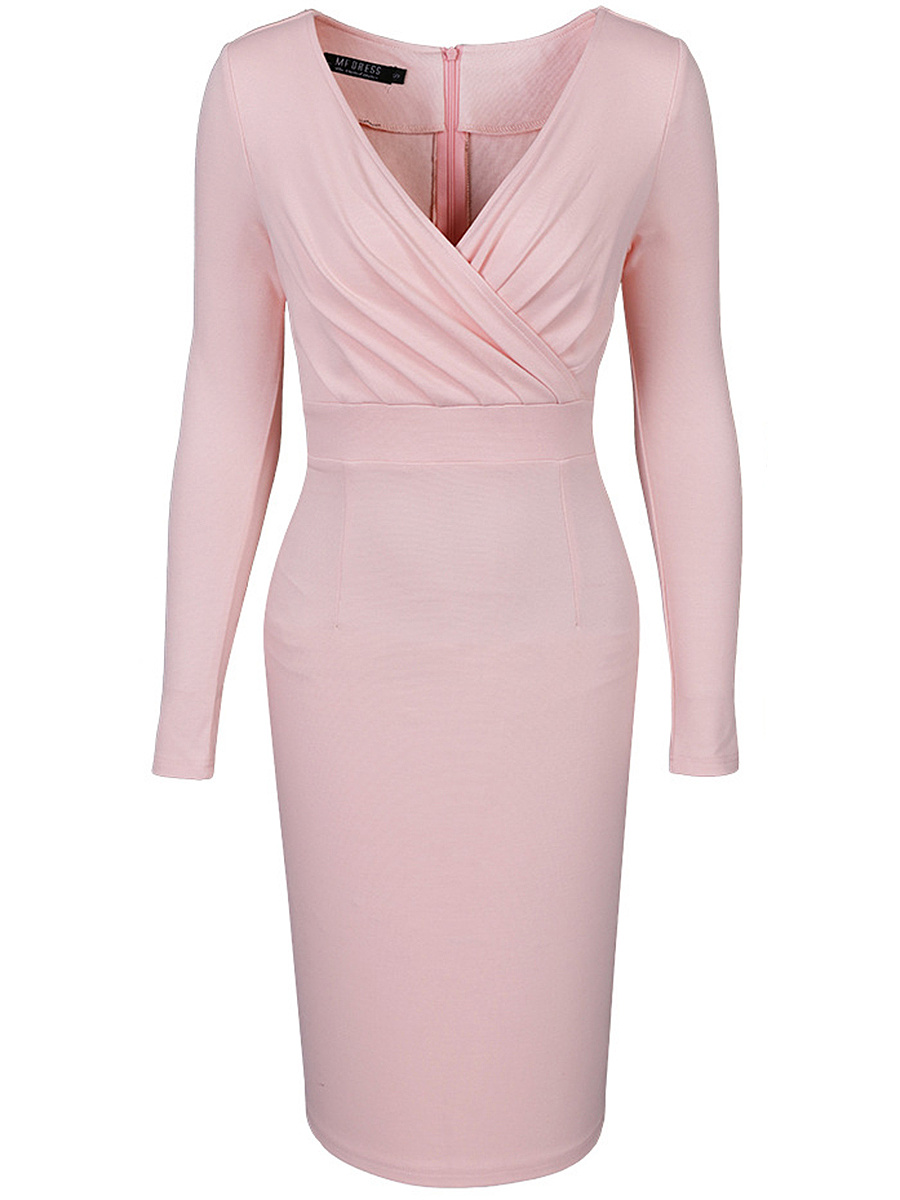 Deep V-Neck Solid Bodycon Dress In Pink
