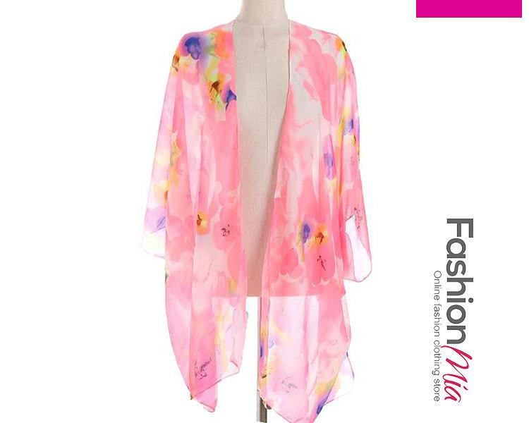 Image of Abstract Print Kimono Sleeve Three-Quarter Sleeve Kimono