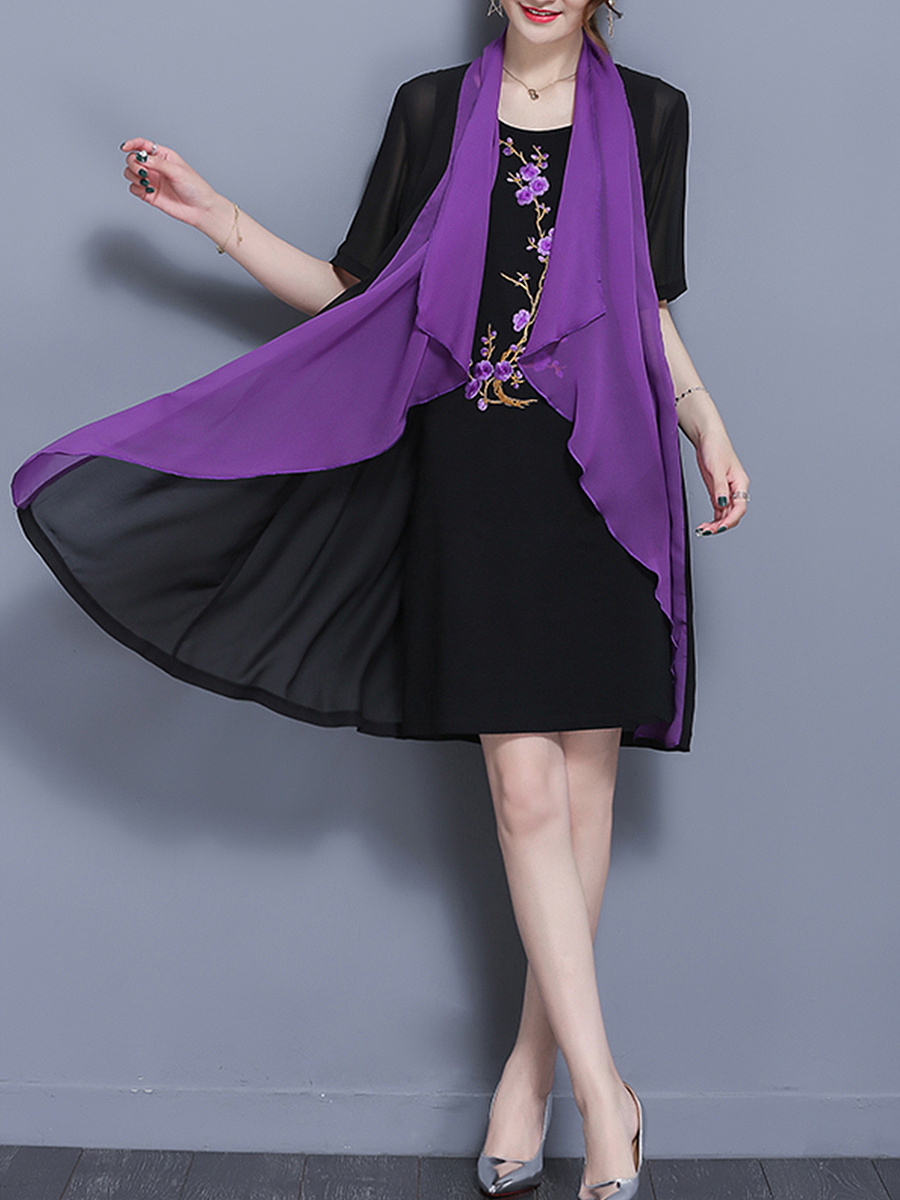 Embroidery Color Block Lapel Two-Piece Shift Dress