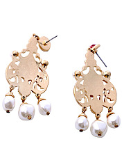 Statement Hollow Out Faux Beads Gem Earrings