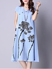 V-Neck Lotus Printed Decorative Button Shift Dress