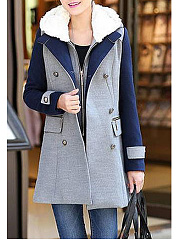 Hooded  Single Breasted Zips  Decorative Hardware  Colouring  Long Sleeve Coats