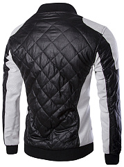 Men Color Block Quilted PU Leather Jacket