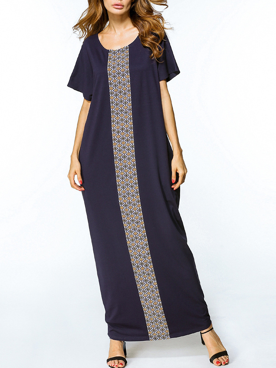 Patchwork Slit Pocket  Plain Remarkable Maxi Dress