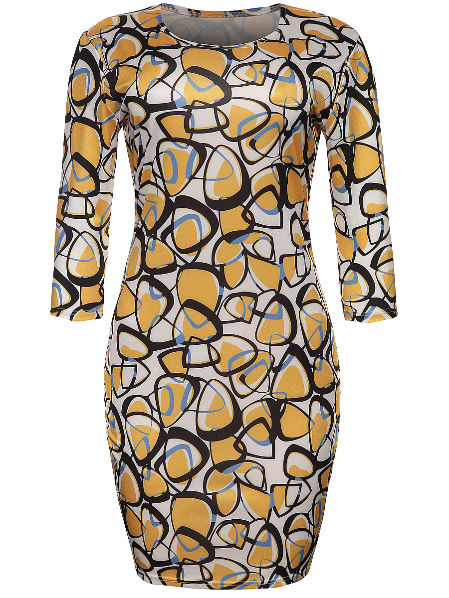 Round Neck Extraordinary Style Printed Bodycon Dress