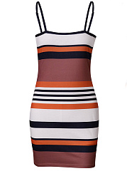 Spaghetti Strap  Asymmetric Stripe Bodycon Dress