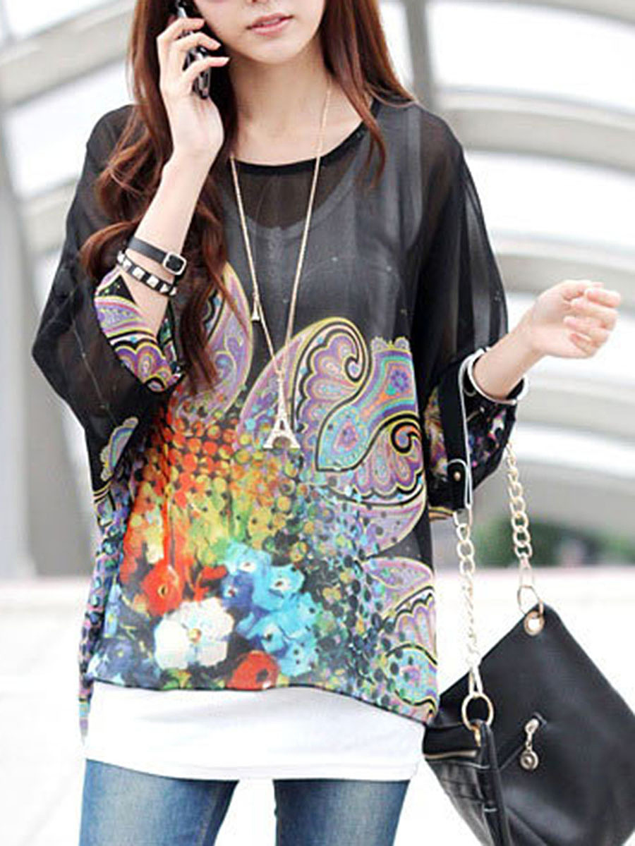 Loose Printed See-Through Batwing Sleeve Tunic